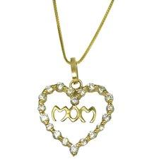 Cubic Zirconia Mom's Heart Pendant