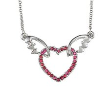 <strong>Trendbox Jewelry</strong> Overlay Crystal Heart with Wings Necklace
