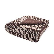 Plush Zebra Print and Sherpa Micofiber Throw