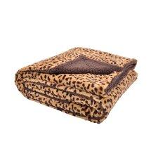 Plush Cheetah Print and Sherpa Microfiber Throw