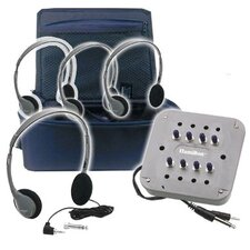 MP3 Listening Center - 4 Personal Headphone, Jackbox with Volume, Carry Case