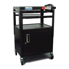 Height Adjustable AV Media Cart with Security Cabinet - Two Stationary Shelves