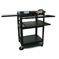 Height Adjustable AV Media Cart - Three Stationary Shelves / Two Pull-Out Shelves / Laptop Shelf