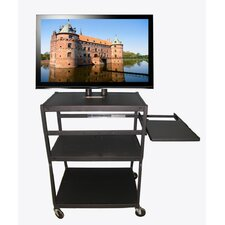 Flat Panel Cart with Side Pull Out Shelf