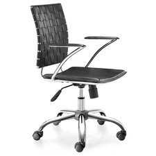 Criss Cross Office Chair with Black Leatherette Seat and Back