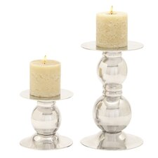 <strong>Woodland Imports</strong> Aluminum Candlesticks (Set of 2)