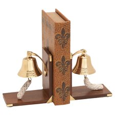 Wood Brass Book Ends with Bell (Set of 2)