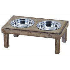 <strong>Woodland Imports</strong> Pet Feeder with 2 Food Bowls
