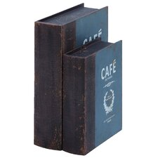<strong>Woodland Imports</strong> Paris Cafe Book Boxes (Set of 2)