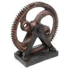 Décor Industrial Style Rusted Gear Figurine