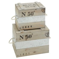 <strong>Woodland Imports</strong> 2 Piece Wooden Box Set