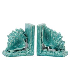 Ceramic Sea Shell Bookend (Set of 2)