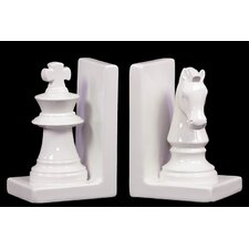 2 Piece Mesmerizing Chess Piece Bookend Set