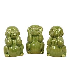 3 Piece Elegant Figurine Monkeys Figurine Set