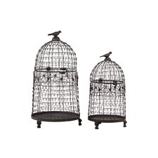 Mesmerizing 2 Piece Metal Bird Cage Set
