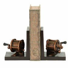 <strong>Woodland Imports</strong> Fishing Reel Themed Book Ends (Set of 2)