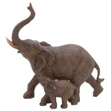 Trumpeting Mother and Baby African Elephant Statue