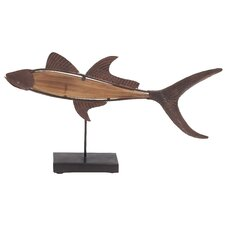 <strong>Woodland Imports</strong> Metal and Wood Fish Statue