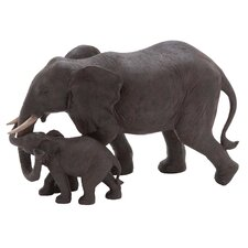 Mother and Baby African Elephant Statue