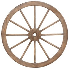 Metal Wagon Wheel Statue