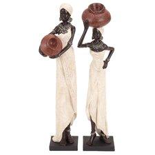 2 Piece Polystone African Figurine Set