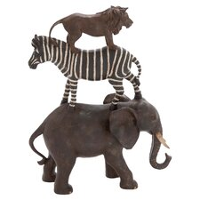 Polystone African Animals Stack of Elephant, Zebra and Lion Figurine