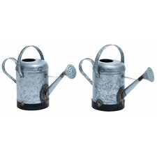 <strong>Woodland Imports</strong> Galvn Rustic Water Can (Set of 2)