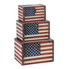 3 Piece US Flag Trunk Set