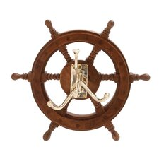The Must Have Wood Brass Ship Wheel Wall Hook