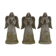 Holy Polystone Garden Angel Statue (Set of 3)