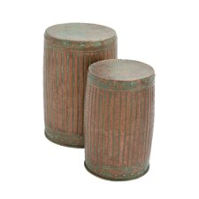 Rustic 2 Piece Metal Stool Set