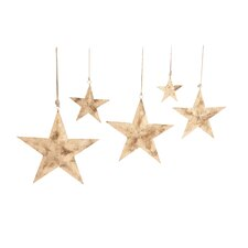 Sparkling 5 Piece Contemporary Styled Hanging Metal Star Set