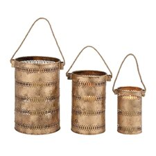 3 Piece Contemporary Styled Metal Lantern Set