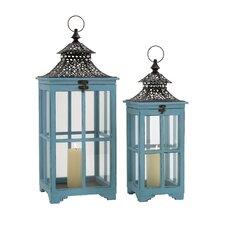 2 Piece Metal Glass Lantern Set