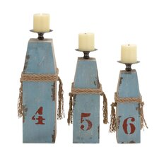 3 Piece Wood / Metal Candlestick Set
