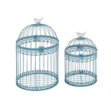 2 Piece Attractive and Lovely Acrylic Bird Cage Set