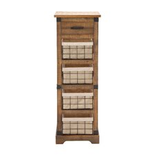 Lovely Wood / Metal 4 Drawer Basket Chest