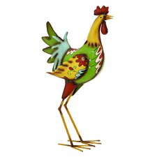 Colorful and Charming Iron Rooster Garden and Lawn Decor Statue