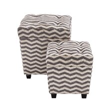 Funky 2 Piece Wood / Fabric Ottoman Set