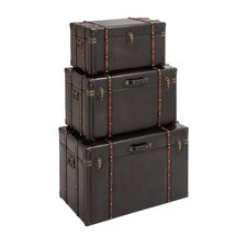 3 Piece Stunning Wood / Leather Trunk Set