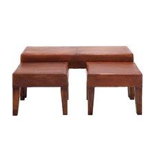 3 Piece Heartthrob Wood Leather Bench Set