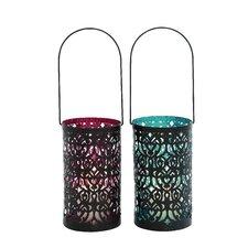 Elegantly Designed Metal Glass Lantern (Set of 2)