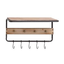 Fascinating Wood Metal Wall Hook Shelf
