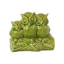 Triple Ceramic Owls on a Stump Figurine