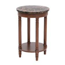 Wood Faux Marble End Table
