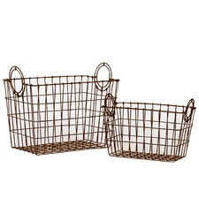 2 Piece Attractive Rectangular Shape Wire Meshed Basket Set