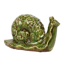 Elegant and Steady Ceramic Snail with Beautiful Floral Motif