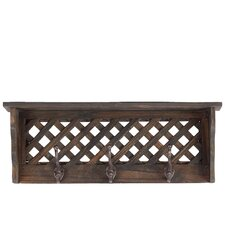 Sturdy and Elegant Wooden Shelf and Coat Rack