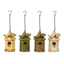 Thached Hut Design Hanging Birdhouse (Set of 4)