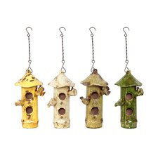 Thached Hut Design Two Story Hanging Birdhouse (Set of 4)